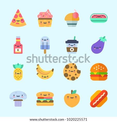 Icons about Food with coffee cup, mushroom, pineapple, hamburger, cookie and cupcake