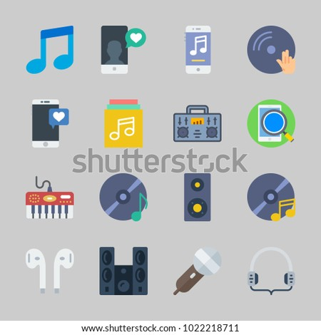 Icons about Music with headphones, compact disc, disc jockey, microphone, announcer and vinyl