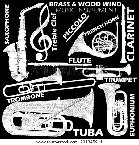 Icons about woodwind and brasswind music instrument sketch by chalk on blackboard. In vector style - stock vector