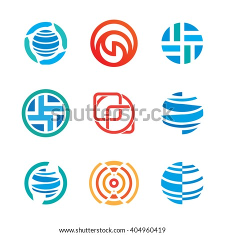 Icons abstract circle logo crest symbol - stock vector