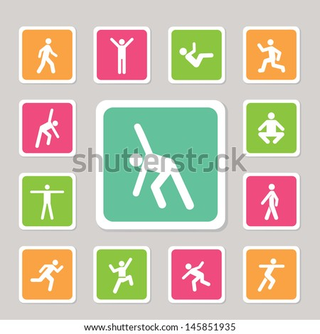 icons action exercise for use - stock vector
