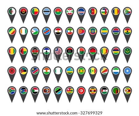 Icons African flags on white background  - stock vector