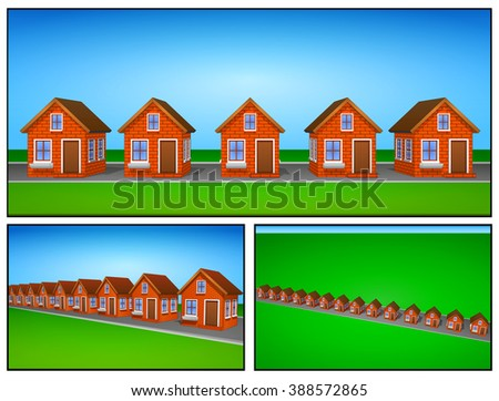 Icons and clip arts set of beautiful houses made of brick. Elements of the city. - stock vector