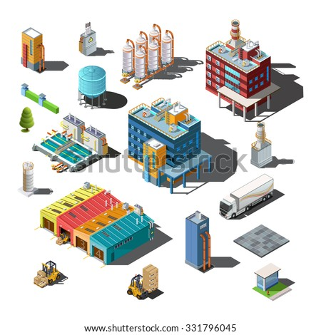 Icons and compositions of industrial building, isolated constructions, subjects isometric view, 3D. Vector set of industry. - stock vector