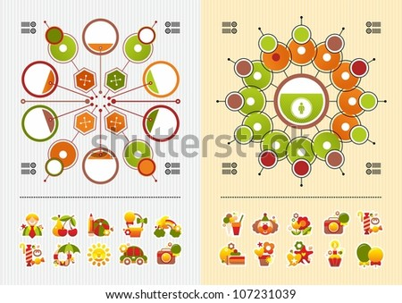 icons and round infographics - stock vector