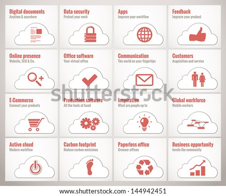 Icons and symbols for cloud online business and offices - stock vector
