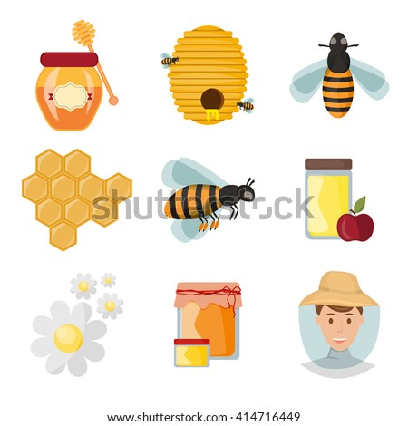 Icons apiaries and bee vector. Bee flying in beehive, jar honey and honeycomb, beekeeper apiary. Apiary set art. Apiary set honey beekeeping honeycomb beeswax apiary bee, honey jar, little bee. - stock vector