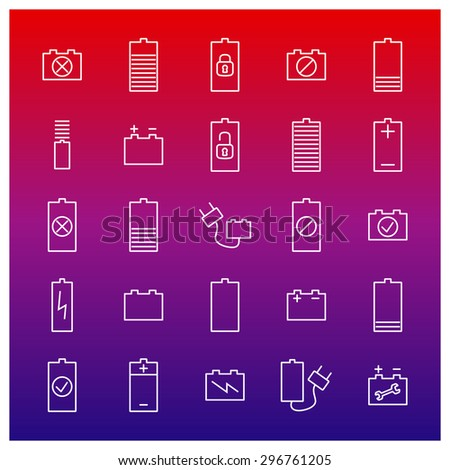 Icons batteries from thin lines, vector illustration. - stock vector