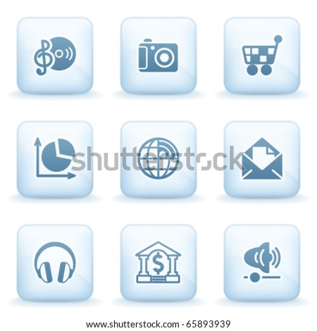 Icons blue series 5 - stock vector
