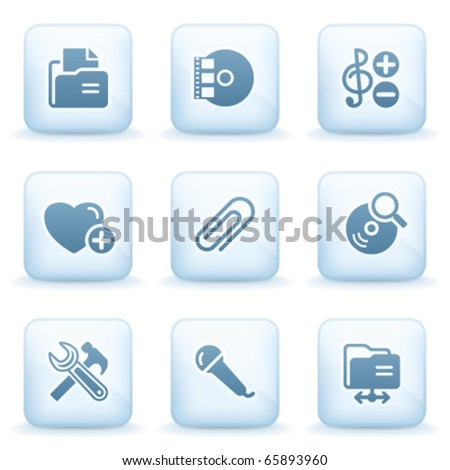 Icons blue series 11 - stock vector