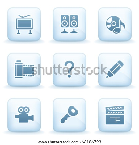 Icons blue series 28 - stock vector