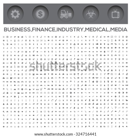 Icons,Business,Money,Construction,Industry,Medical,Technology,Communication and web icons - stock vector