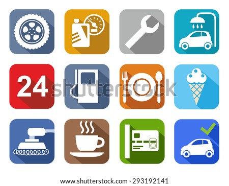Icons car service, car wash, polishing, tire, cafe, color, flat. Colored flat icons with images of auto services or roadside gas stations. For printing and websites.