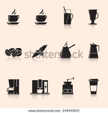 Icons coffee: coffee grinder, mug, coffee grains. - stock vector