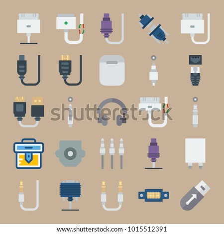 Icons Connectors Cables Cable Jack Connector Stock Vector 1015512391 ...