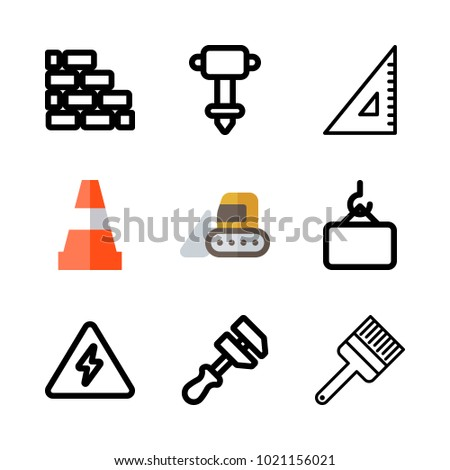 Icons Construction Vector Electricity Paint Brush Stock