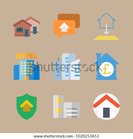Icons construction blueprint skyscrapers building house stock vector icons construction with blueprint skyscrapers building house and hotel malvernweather Images