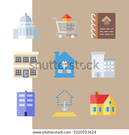 Icons construction house carrier blueprint capitol stock vector icons construction with house carrier blueprint capitol building and home malvernweather Gallery