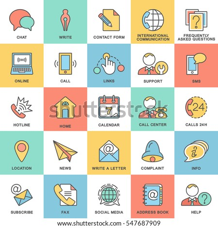 Icons contact us. Methods of communication with the contact center and information. The thin contour lines with color fills.