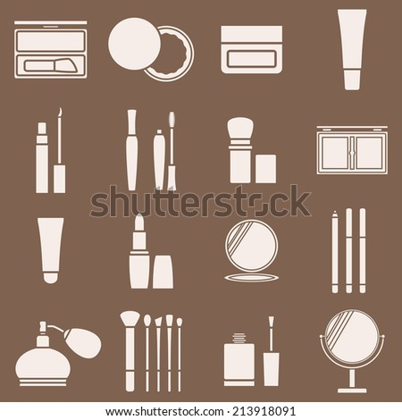 Icons cosmetics in a light beige silhouette. Vector illustration