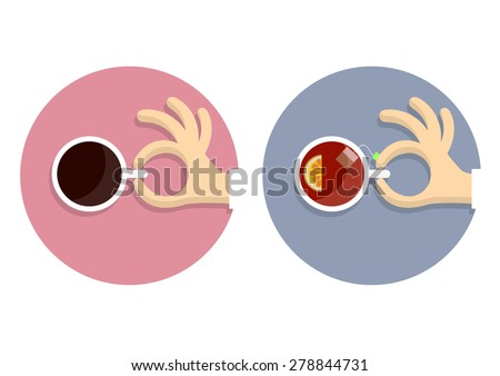 Icons cup of coffee and cup of tea with hands in cartoon style. Vector EPS10 - stock vector