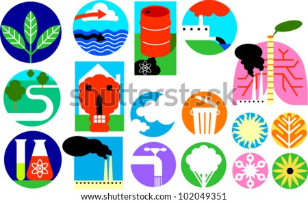 Icons depicting the environment, pollution, industrial waste, etc. - stock vector