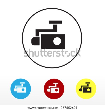 Icons drone,  camera. isolated on white. Vector illustration - stock vector
