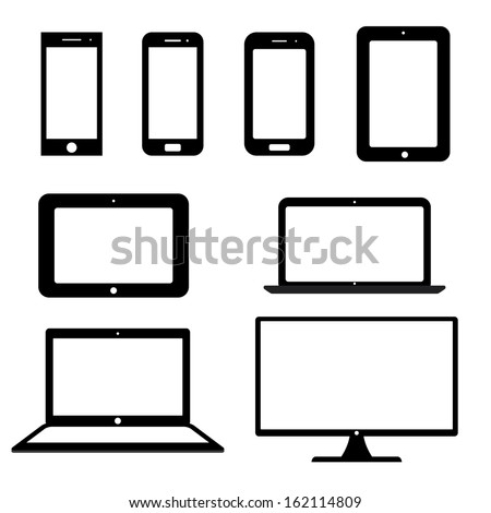 icons electronic devices with white blank screens. smartphones, tablets, computer monitor, laptop. vector set. eps8 - stock vector