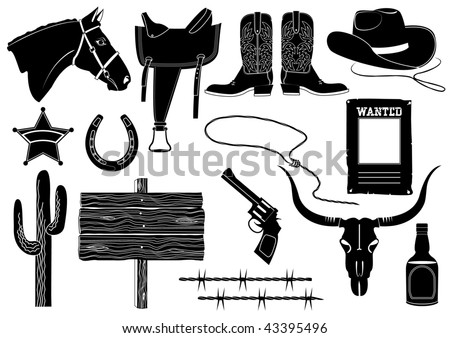 Icons elements for cowboy life.Vector silhouettes - stock vector