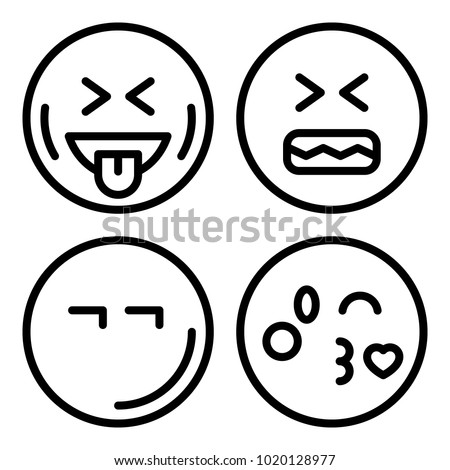 Icons Emoticons Vector Kiss Angry Laughing Stock Vector 1020128977