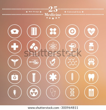 Icons flat is medicine white on a blurred background