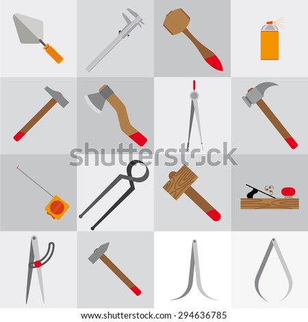 Icons flat.It contains icons tools. Gray squares. Without a shadow. - stock vector