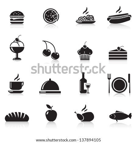 icons food: chicken, hamburger, wine, a plate, apple - stock vector