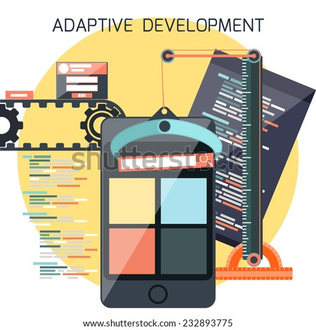 Icons for adaptive application development in flat design. Smartphones with site coding pencil and building crane ruller - stock vector