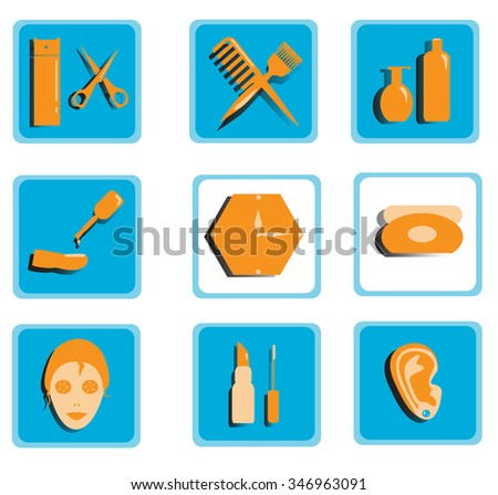 Icons for beauty salon, colored set