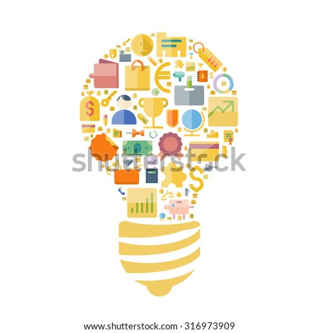 Icons for business and finance arranged in light bulb shape. Vector illustration. - stock vector