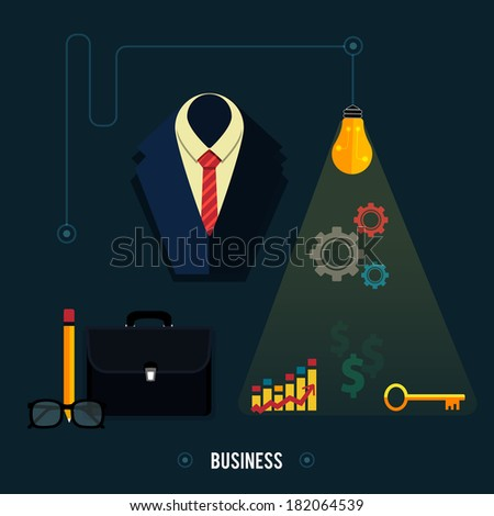 Icons for business concept. Tools, interier, business online, documents in flat design - stock vector