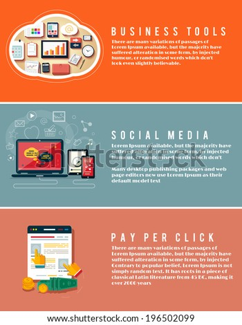 Icons for business tools, seo, social media and pay per click internet advertising in flat design. Business, office and marketing items icons. - stock vector