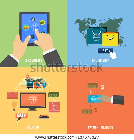 Icons for e-commerce, delivery, online shopping, payment methods, business tools - stock vector