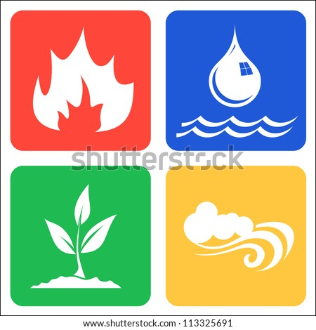 Icons for Earth, Air, Fire and Water vector llustration - stock vector