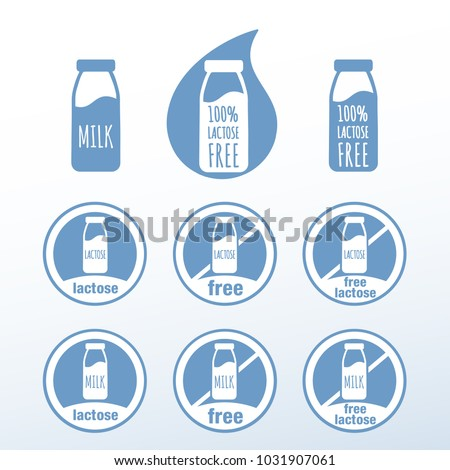 Icons Food Without Lactose Stock Photo Photo Vector Illustration