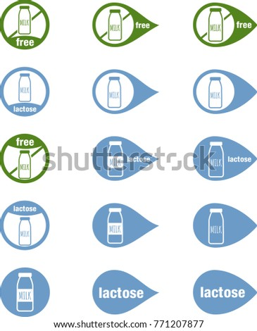 Icons Food Without Lactose Free Lactose Stock Vector 771207877