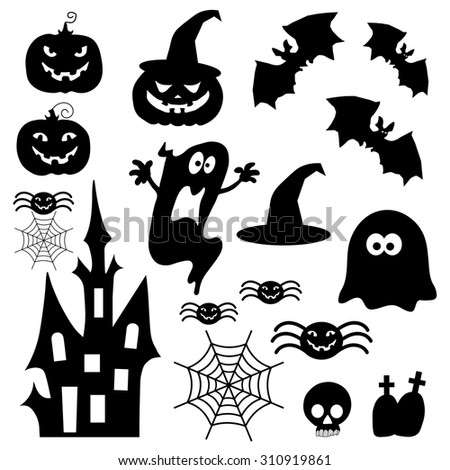Icons for Halloween - stock vector