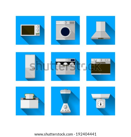 Icons for home equipment. Set of nine square blue icons with white and colored equipment for home on white background. - stock vector
