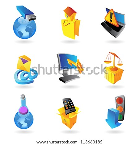 Icons for industry and ecology. Vector illustration.