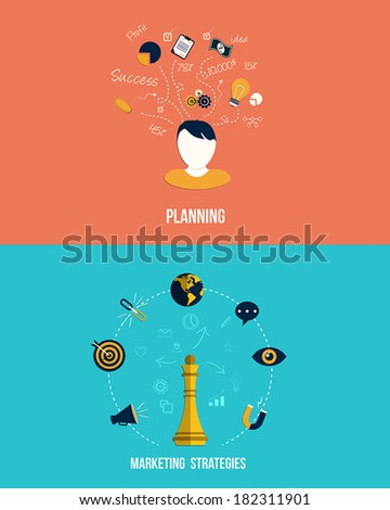 Icons for Marketing strategies and Planning. Flat style. Vector - stock vector
