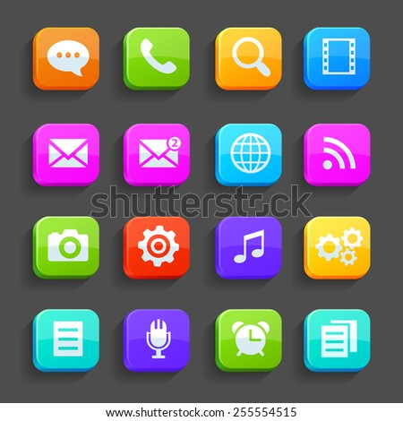 Icons for mobile phone, isolated on gray background. Vector - stock vector