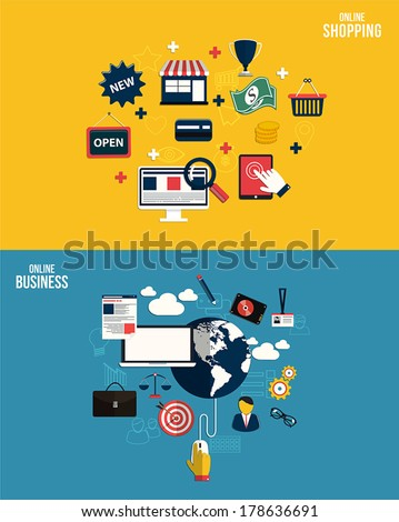 Icons for online business and online shopping. Flat style. Vector - stock vector