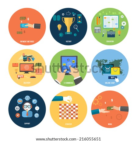 Icons for online shop, e-commerce, payment methods, education, strategy, support and delivery in flat design - stock vector