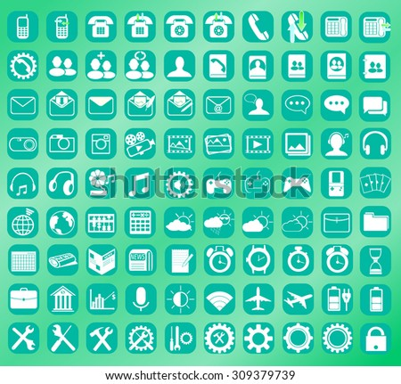 Icons for Phone Interface 9 - stock vector